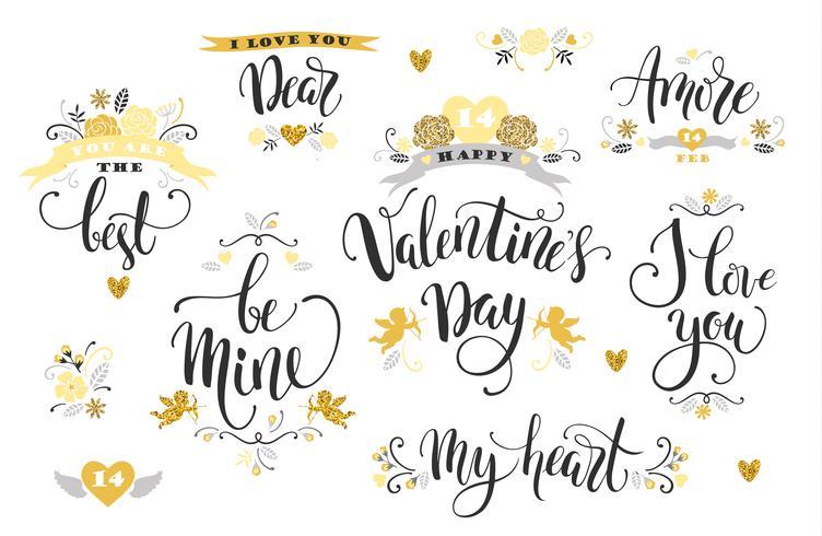 Glad alla hjärtans dag. Sats med handtecknade inskriptioner. vektor