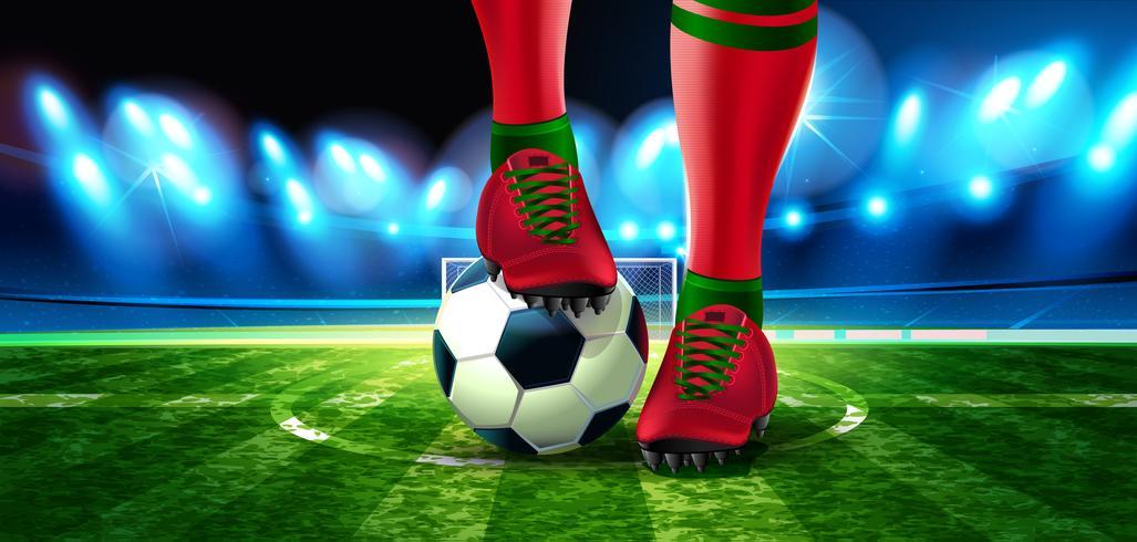 Fußball in der Fußball-Arena mit einem Teil des Fußes eines Fußballspielers vektor