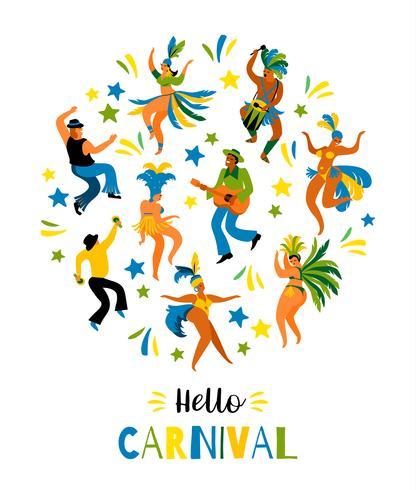 Brasilien karneval. Vektor illustration av roliga dansande män och kvinnor i ljusa kostymer.