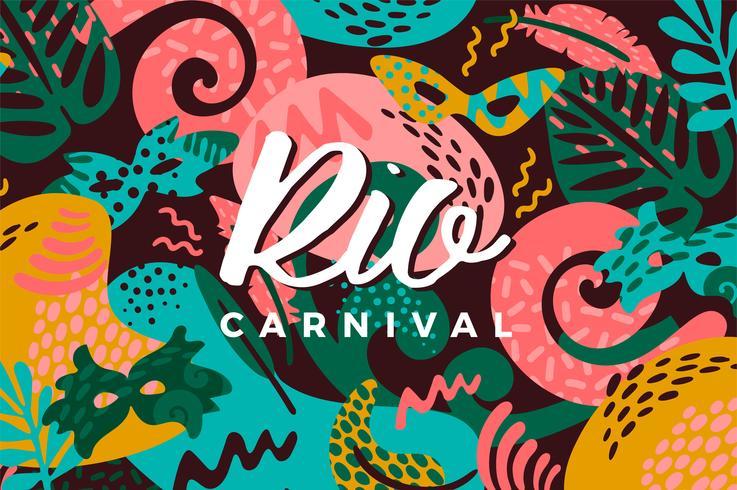 Brasilien karneval. Vektor illustration med trendiga abstrakta element.