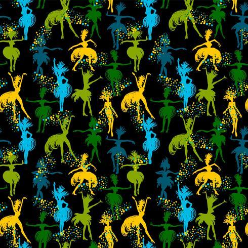 Vektornahtloses Muster mit tanzenden Frauen. vektor