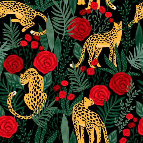 Seamless mönster med leoparder och rosor. vektor