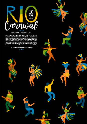 Brasilien karneval. Vektor mall för karneval koncept.