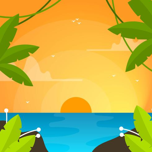 Flat Modern Sunset Ocean Vector Bakgrund