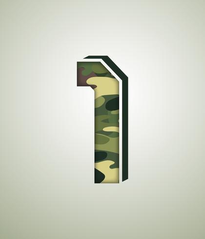 Kamouflage Karaktär, detaljerade vektor teckensnitt