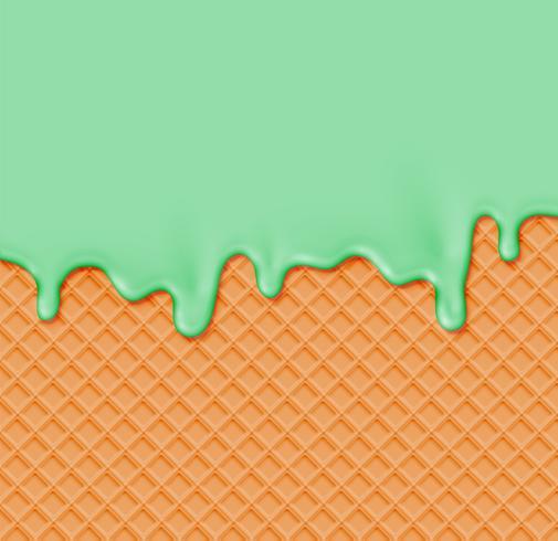 Realistische Waffel mit schmelzender Creme auf ihr, Vektorillustration vektor