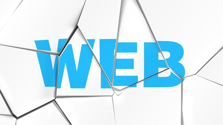 Wort von 'WEB' auf einer gebrochenen weißen Oberfläche, Vektorillustration vektor