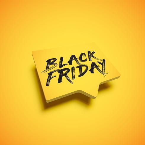 """Hög detaljerad gul talbubbla med """"BLACK FRIDAY"""" titel, vektor illustration"""