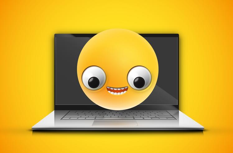 Hoch-ausführlicher Emoticon auf einem Notizbuchschirm, Vektorillustration vektor