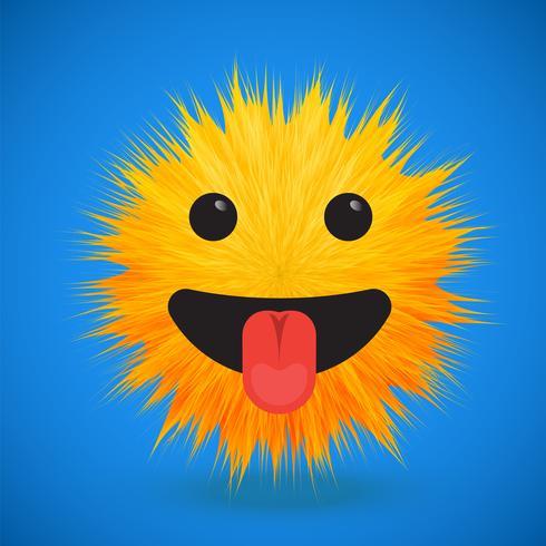 Hochdetaillierter smiley Emoticon des Pelzes 3D, Vektorillustration vektor