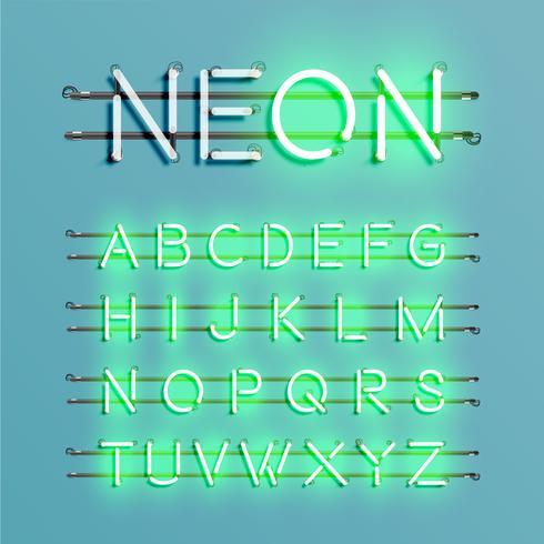 Realistisk neon typsnitt med ledningar och konsol, vektor illustration