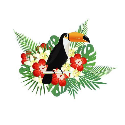 Tropisk bakgrund med toucan, blommor och tropiska blad vektor