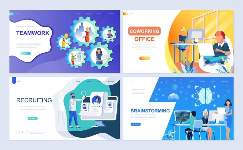 Set von Landing-Page-Vorlage für Teamwork, Recruiting, Brainstorming, Coworking Office vektor
