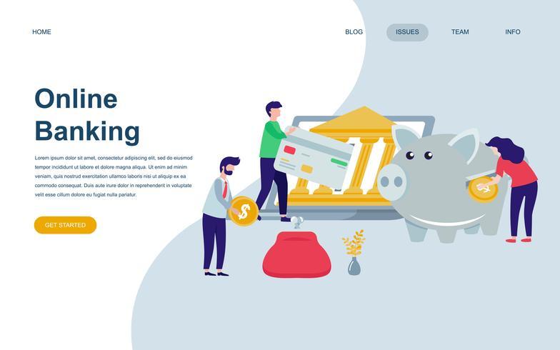 Moderne flache Webseiten-Designvorlage für Online-Banking vektor