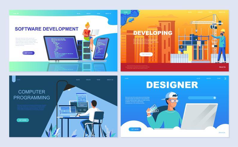 Set med målsida mall för Programvara, Utveckling, Designer, Programmering. vektor