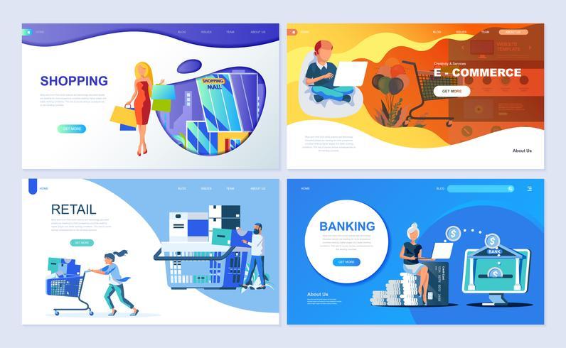 Set med målsida mall för Online Shopping, E-handel, Retail, Internet Banking vektor