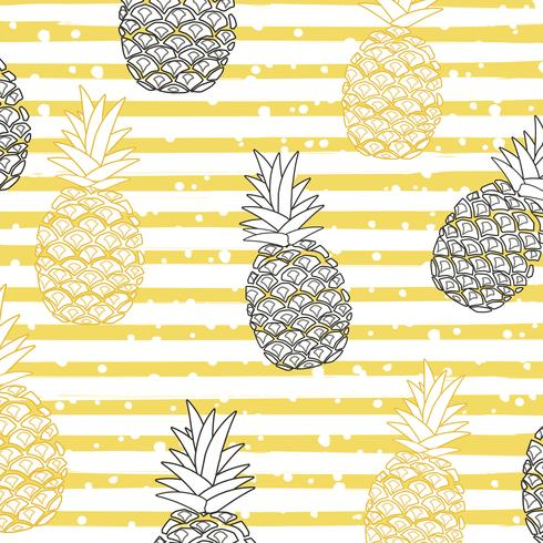 Ananas mit nahtlosem Musterhintergrund der Streifen vektor