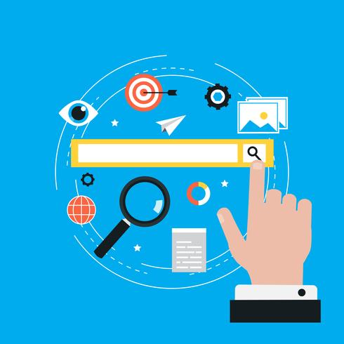 Keywording, SEO keywording process, nyckelord forskning, nyckelord optimering platt vektor illustration design. Design för webb banners och appar