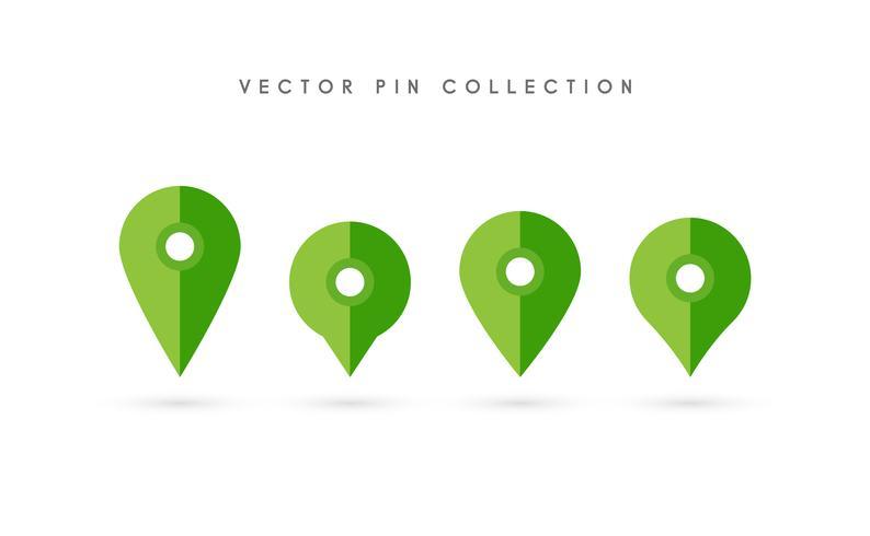 Ortsnadel Ikonen-Vektordesign des Kartenstiftes flaches. vektor