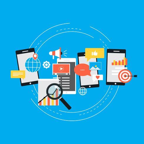 Sociala media, SEO, nätverk, video marknadsföring, navigering begrepp vektor