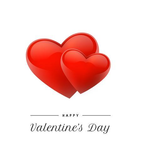 Alla hjärtans dag bakgrund med realistiska hjärtan. Vektor illustration. Gullig kärlek banner eller hälsningskort