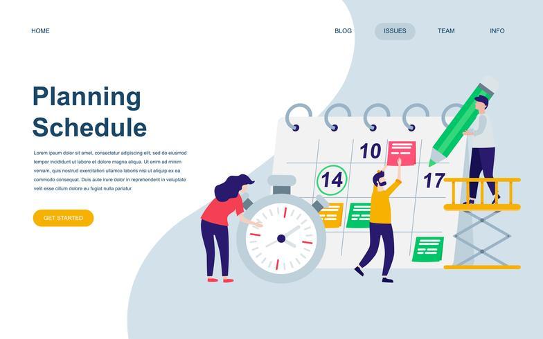 Moderna platt webbdesign mall av planeringsschema vektor