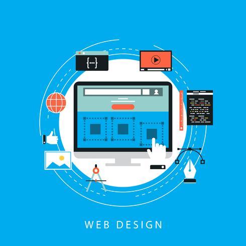 Webbplatsutveckling koncept platt vektor illustration