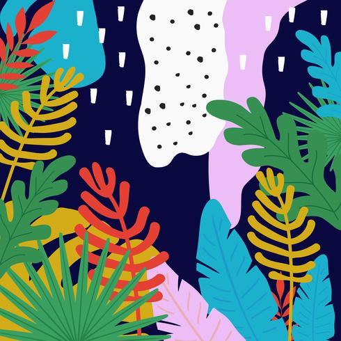 Tropiska djungeln lämnar bakgrunden. Tropisk affischdesign. Tropiska löv konsttryck vektor