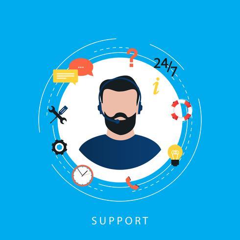 Kundtjänst, live chat support, teknisk support, callcenter platt vektor illustration design