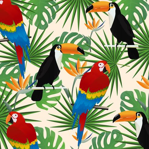 Tropischer nahtloser Musterhintergrund mit Papageien, Tukanen und tropischen Blättern vektor
