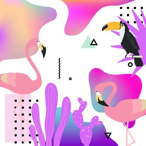 Trendig flytande bakgrund med flamingo, toucan och tropiska blad vektor
