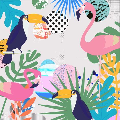 Tropisk djungel lämnar bakgrund med flamingos och tukaner vektor