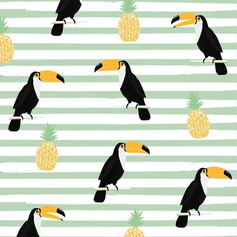 Ananas und Tukan mit nahtlosem Musterhintergrund der Streifen vektor