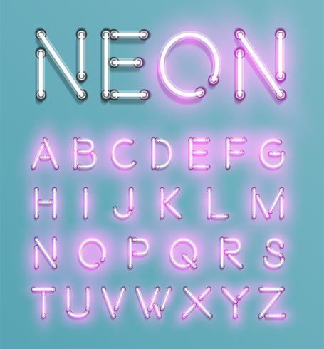 Realistisk neon karaktär typeset, vektor