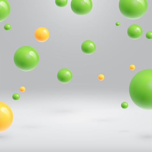 Färgglada sfärer flytande, realistisk vektor illustration