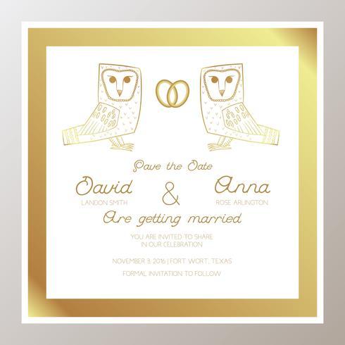 Romantische Hochzeitseinladung mit Goldringen, Eulen. vektor