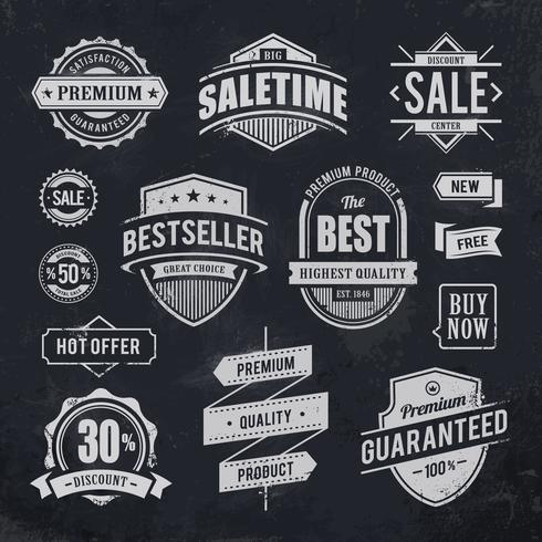 Kreide gezeichnete Verkauf Embleme vektor