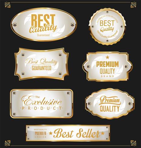 Retro vintage svart och guld märken och etiketter samling vektor