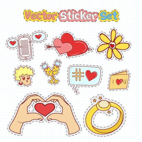Valentinsgruß-Tagesaufkleber-Flecken in der Gekritzelart. Vektor-Illustration vektor