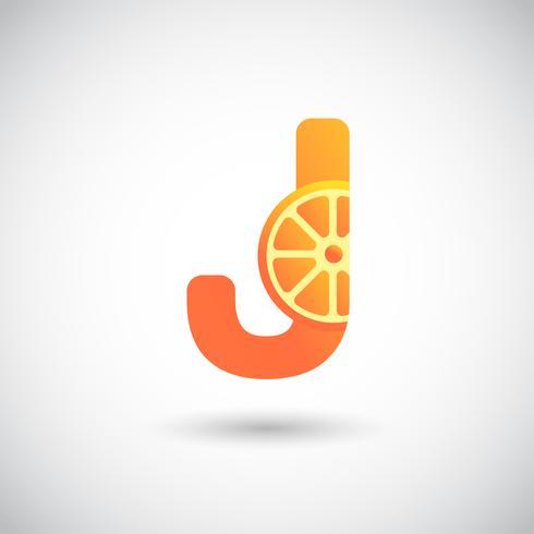 Brev J Med Frukt Logo Concept vektor