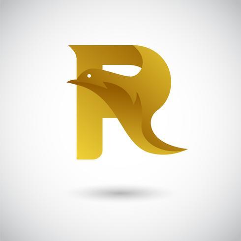 Brev R Med Dove Logo Concept vektor