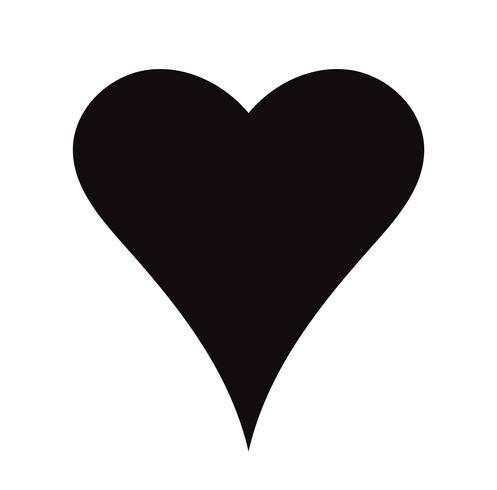 Flache schwarze Herz-Ikone lokalisiert auf weißem Hintergrund. Vektor-Illustration vektor