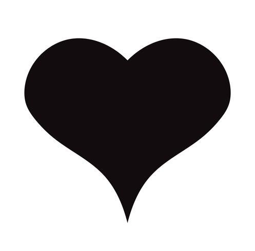 Flat Black Heart Icon Isolerad på vit bakgrund. Vektor illustration.