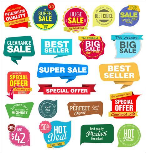 Moderne Verkaufsfahnen und Aufklebersammlung vektor