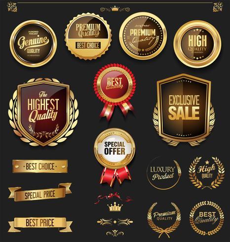 guld märken och etiketter vektor