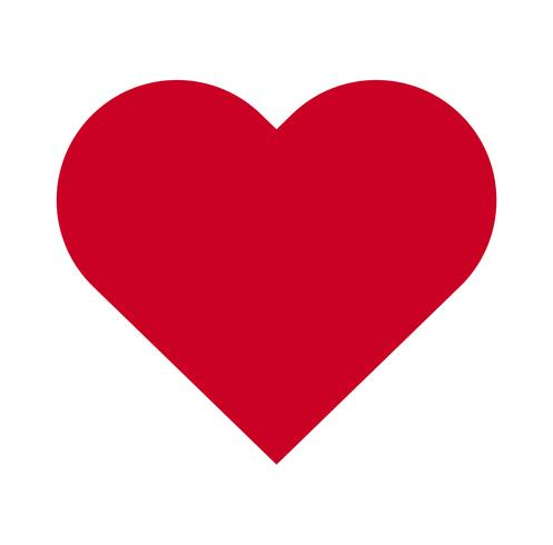 Hjärta, Symbol för kärlek och Alla hjärtans dag. Plattor röd ikon isolerad på vit bakgrund. Vektor illustration. - Vektor
