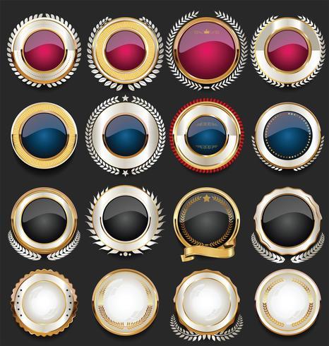 Guldförsäljning etiketter retro vintage design samling vektor