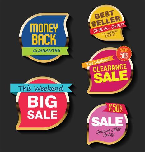 Moderna försäljnings klistermärken och taggar färgrik samling vektor