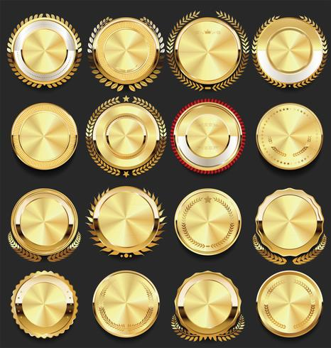 retro vintage märken guld samling vektor illustration