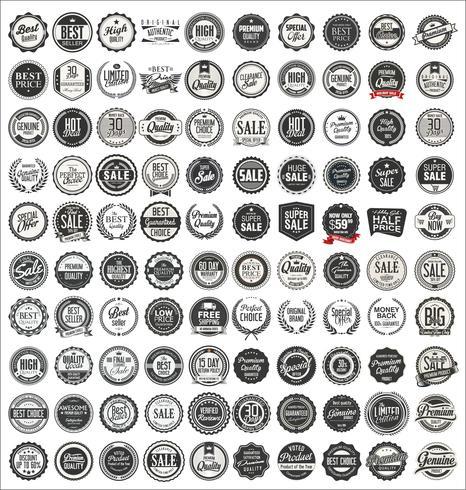 Mega-Sammlung von Retro-Vintage-Abzeichen und Etiketten vektor